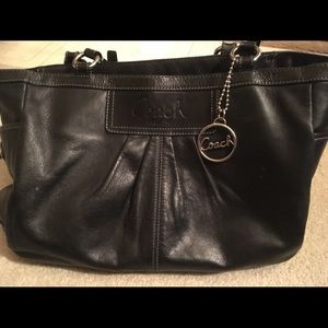 Coach Leather Black Satchel Pre-owned w/Some Wear